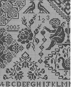 Cross Stitch Angels, Cross Stitch Rose, Lace Patterns, Cross Stitch Patterns, Crochet Angels, Filet Crochet, Monochrome, Needlework, Alphabet