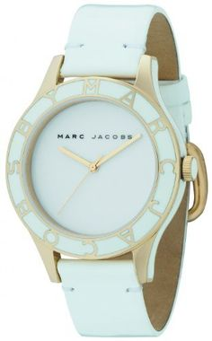Marc by Marc Jacobs Women's MBM1178 Blade Classic 3-Hand Analog White Watch Marc by Marc Jacobs. $169.49. Water-resistant to 99 feet (30 M). Features a modern white enamel and stainless steel logo top ring. MBM logo roller buckle closure. Genuine leather strap. This watch is so versatile you can wear it anywhere, at any time