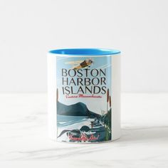 Boston Harbor Massachusetts Flight poster Two-Tone Coffee Mug