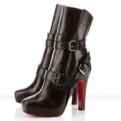 Christian Louboutin Ankle Boots 120mm Black Leather Bandage sale