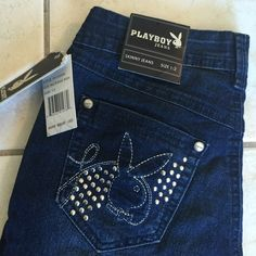 PLAYBOY Bunny Logo Skinny Jeans Sz 1/ 2 NWT Label- Playboy Style-# VFJ1200R, low rise, silver lurex thread for bunny logo on back pocket and silver nail studs Fabric-75%Cotton, 23 Polyeste, 2%Spandex Size-1/2 Measurements- Waist- 24, Hip- 35 Length-33 Rise-10 Condition-NWT Origin-China Playboy Jeans Skinny