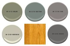 All colors shown are by Benjamin Moore - paint colors to compliment honey oak trim paint colors with oak cabinets The Best Wall Paint Colors To Go With Honey Oak — True Design House Kitchen Colour Schemes, Kitchen Paint Colors, Room Paint Colors, Color Schemes, Wall Colours, Wood Colors, Neutral Colors, Benjamin Moore, Honey Oak Trim