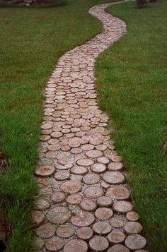 DIY Garden path from wooden discs
