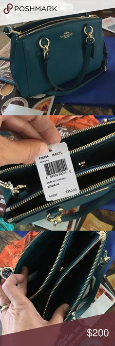 Brand new Green Coach bag . This week only Brand new with tags. Never used Coach purse handbag. Coach Bags Shoulder Bags