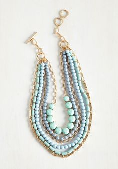 Yes You Glam Necklace in Sky. Wondering if you can sport this statement necklace with that look? #blue #modcloth
