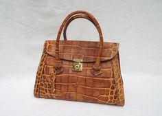 DOONEY & BURKE SATCHEL, Tan Leather Reptile Print Double Strap Made in Italy #DooneyBurke #Satchel