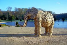 Wooden elephant for an expo at the Royal Museum for Central Africa in Tervueren (Brussels), province of Brabant, Belgium. Photo: Jos Van de Velde