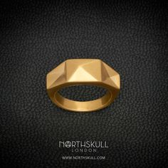 New for AW16 | Finished in luxurious brushed gold, our In 'n' Out Ring creatively blends triangular inverted panels to form a stunning band that is sure to add a luxe edge to your outfit this season. Complete the look with our matching In 'n' Out Cuff. | Available now at Northskull.com [Worldwide Shipping] #Luxury #Jewelry #MensAccessories