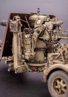 新春第一砲!1/35 88mm FLAK 36/37 終於做完了,這支砲配PE太難做,已盡力了~