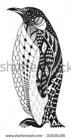 Penguin zentangle stylized, vector, illustration, freehand pencil, hand drawn…