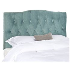 Dress up guest room or master suite with the deeply tufted Axel Queen Headboard. With posh button-tufted upholstery in Wedgwood Blue velvet, this comfortably padded, gently curved headboard evokes images of Hollywood glam. Attaches to any stand Tufted Headboard Queen, Full Headboard, Panel Headboard, Upholstered Headboards, Headboard Ideas, Bedroom Furniture, Home Furniture, Online Furniture, Armelle