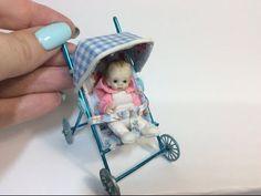 Miniature Baby Stroller/Pram Tutorial (Creating Dollhouse Miniatures)                                                                                                                                                                                 More