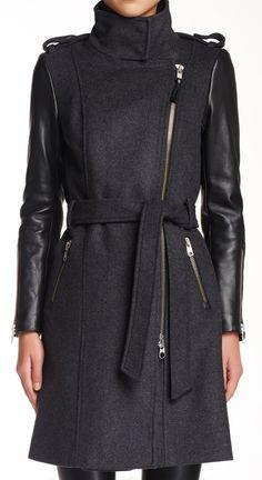 Mackage Wool & Leather Coat // sponsored by Nordstrom Rack
