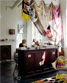 Emily Chalmers loft...good curtain idea for dining room/living room separation