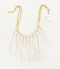 White Seed Bead And Leather Fringe Necklace Set....I'm loving this