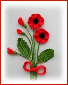 Hand Crochet Appliques Poppy flowers and leaves crocheted using Acrylic yarn. MADE TO ORDER Large flowers measures approx: 7 - 7,5 cm in