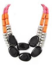 Miami Chic Necklace, love the different textures and these colors with the black