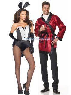 Hefner Robe and Tuxedo Bunny Couples Adult Halloween Costumes