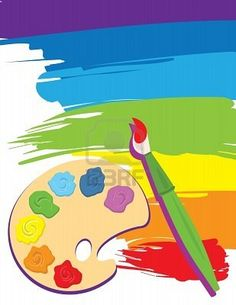 8875469 » Illustration - Paintbrush, palette on rainbow color painted canvas.