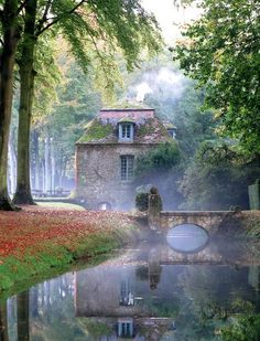An Old Mill in the Gardens of Château de Courances in France