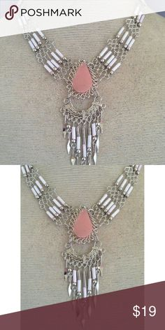 "Peruvian Pink Opal Necklace This auction is for a Peruvian Pink Opal semi-precious stone with bugle beads and alpaca silver necklace. It is made with alpaca silver, which is an alloy of zinc, copper, iron and nickel. It is extremely lightweight and will not rust or tarnish. The necklace was handmade in Peru. L 17.5 ""  6-ne-st-ppobb-1 Posted with eBay Mobile Kimberly's Boutique Jewelry Necklaces"