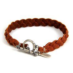 Men's leather braided bracelet