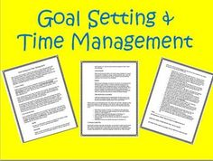 {{Freebie}} Goal Setting & Time Management  This is a 3-page guide to help your students create and accomplish their goals. It reviews the SMART system of goal setting, which I find is the most useful technique. Goal setting is a necessary skill that all students should know before graduating high school. This is useful for any secondary classroom.