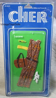 1976 Cher Doll Fashions - Laverne 62420 - spotted Pantsuit with Belt and Faux Buckle, Sunglasses, Tote, Shoes and Hair Ribbon - Designed by Bob Mackie - Made in British Colony of Hong Kong by Mego - NRFP Vintage Dolls, Vintage Items, Barbie Skipper, Detective Agency, Farrah Fawcett, Bob Mackie, Ribbon Design, Childhood Toys, Doll Shoes