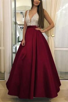 V-Neck Beaded Burgundy A-Line Prom Dress Custom Made Long Evening Party Dresses Fashion Beadings School Dance Dresses CR 702 School Dance Dresses, A Line Prom Dresses, Evening Dresses, Formal Dresses, Party Dresses, Ribbed Knit Dress, Tube Dress, Night Outfits, Belted Dress