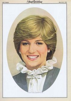 "Portrait of Diana Frances Spencer ""Di"" (1961-1997) Princess of Wales, UK. 1st wife to heir to UK Throne Prince Charles (Charles Philip Arthur George) (1948-living2013) Prince of Wales, UK. Diana is the 4th Child of Edward John ""Johnnie"" Spencer (1924-1992) 8th Earl Spencer UK & Frances Ruth Roche (Frances Ruth Spencer-Shand Kydd) (1936-2004) UK."