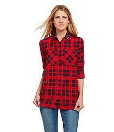 MICHAEL Michael Kors GemCollar Plaid Shirt #Dillards