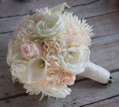 Blush Pink and Ivory Rose Hydrangea and Mum Wedding Bouquet