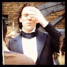 Tom Hiddleston on the set of Crimson Peak.