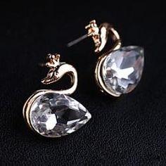 Korean version of the new Korean super flash black diamond earrings gorgeous crystal stones swan(random color) - buy for USD0.59