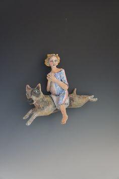 blue - Dog Riding  - girl - ceramic wall sculpture - Victoria Rose Martin