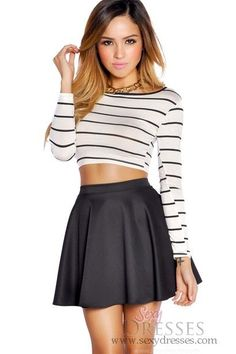Black High Waisted Skater Skirt & striped long-sleeve crop top