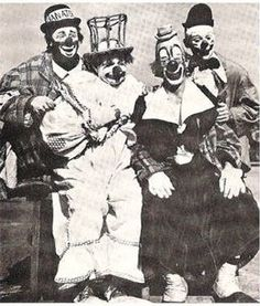 An extremely rare photo of Paul Jerome, Felix Adler, Lou Jacobs and Paul Jung, four of the greatest clowns of the Golden Age posed togethe. Circus Clown, Circus Theme, Aboriginal History, Paul Jung, Circo Vintage, Vintage Clown, Send In The Clowns, Pierrot, Circus Performers