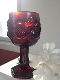 Vintage Avon CAPE COD goblet votive holder, small ruby red glass .i HAVE A WHOLE SET OF THIS CAPE COD