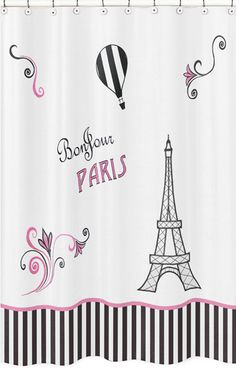 Bonjour Paris! Make a statement in your #bathroomdecor with this adorable Pink and Black Paris Shower Curtain by Sweet Jojo Designs.  It will add style and color while creating a whimsical Paris theme for your bathroom. Pink and Black Paris Kids Bathroom Fabric Bath Shower Curtain - Eiffel Tower Decor #fabricshowercurtains #paristhemed