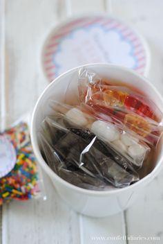 Ice cream sundae favor kits with free printable ice cream labels