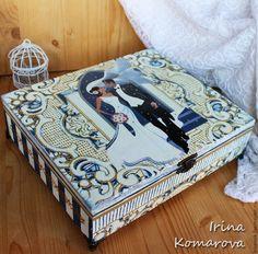 Купить Свадебная шкатулка большая - синий, белый, свадьба, шкатулка на свадьбу, Декупаж, жених и невеста