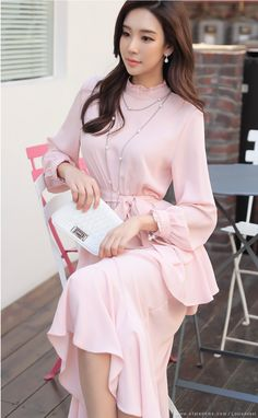 Styleonme Pay By Credit Card, Asia Girl, Korean Women, Ruffle Dress, Korean Fashion, Knitwear, Cold Shoulder Dress, Model, Park