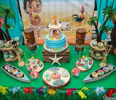 The ocean chose you 🌊🌺🌸🌼 . Baby Moana's Birthday . Cake by Sweets by Backdrop by Photography by Props Rentals by Moana Birthday Decorations, Moana Birthday Party Theme, Moana Themed Party, Luau Party, Birthday Backdrop, Hawaiian Birthday, Luau Birthday, Cool Birthday Cakes, First Birthday Parties