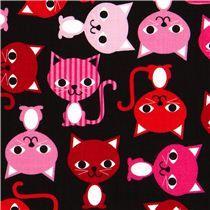 schwarzer Stoff mit bunten Katzen Robert Kaufman kawaii