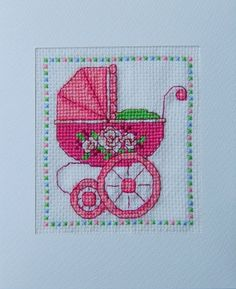 Finished Cross Stitch Card New Baby