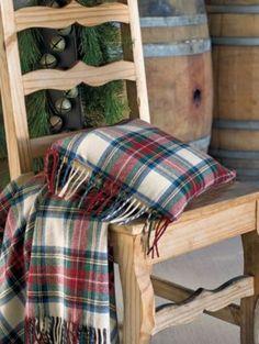 Fringed Merino Tartan Toss Pillow in Dress Stewart, Grey Stewart, Black Stewart, Black Watch and Royal Stewart.