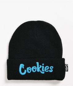 Keep your head warm (and, more importantly, looking good) in the OG Thin Mint black and blue beanie from Cookies! A thick, ribbed construction helps to keep your head cozy and warm, while the blue embroidered Cookies logo at the cuff and matching brand tag at the side help add some signature branding to any outfit.