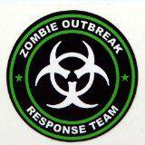 "3 - Zombie Outbreak Response Team Green Hard Hat / Helmet Stickers 1 1/2"" H125"