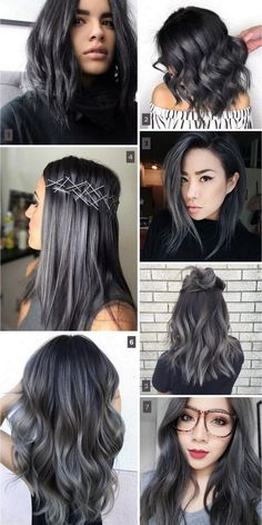 Trend für den Winter – Beauty-Tipps & Tricks – Hair and Body – Charcoal hair trend: balayage, ombré, highlights. Trend for winter – Beauty Tips & Tricks – Hair and Body – … Ombre Hair Color, Hair Color Balayage, Cool Hair Color, Balayage Ombré, Gray Hair Ombre, Black Hair Ombre, Grey Blonde, Black And Grey Hair, Dyed Hair Ombre