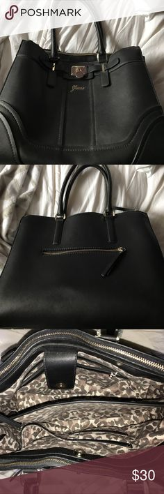 Large black Guess handbag Lots of space, big pockets, used once, great condition Guess Bags Totes